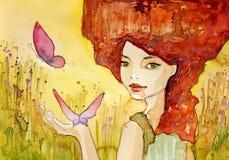 Portrait de jeune jolie femme illustration de vecteur