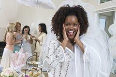 Portrait de jeune mariée étonnée Images libres de droits