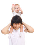 Portrait de jeune père et d'enfant ayant l'amusement Photo stock