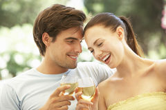 Portrait de jeunes couples détendant sur Sofa Drinking Wine Together Photos libres de droits