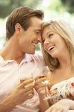 Portrait de jeunes couples détendant sur Sofa Drinking Wine Together Images libres de droits