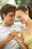 Portrait de jeunes couples détendant sur Sofa Drinking Wine Together Photos libres de droits
