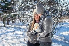 Portrait de jeunes couples dans l'amour avec l'ours de nounours Image libre de droits