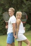 Portrait de jeunes joueurs de tennis Photographie stock