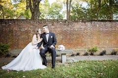 Portrait de jeunes mariés dans le jardin Photo stock