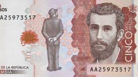 Portrait de Jose Asuncion Silva sur le peso 201 de la devise 5000 de la Colombie Image stock