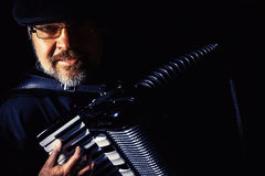 Portrait de joueur d'accordéon images libres de droits
