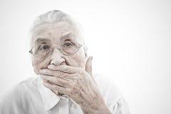 La grand-maman est muette Image libre de droits
