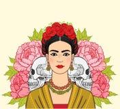 Portrait de la belle femme mexicaine dans des vêtements antiques, crânes humains illustration libre de droits