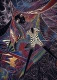 Portrait de la belle fille intelligente avec le maquillage coloré d'art sur un fond multicolore des formes géométriques, graphiqu illustration de vecteur