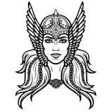 Portrait de la belle jeune femme Valkyrie Déesse païenne, caractère mythique illustration de vecteur