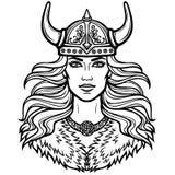 Portrait de la belle jeune femme Valkyrie dans un casque à cornes Déesse païenne, caractère mythique illustration stock