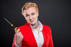 Portrait de la femme attirante d'affaires tenant le tournevis Image stock