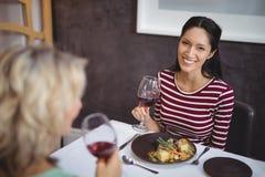 Portrait de la femme ayant un verre de vin rouge Photo stock