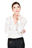 Portrait de la femme de pensée dans les vêtements sport photos libres de droits