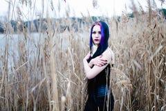 Portrait de la femme gothique dans une haute herbe Image libre de droits