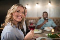 Portrait de la femme heureuse ayant le vin rouge Photographie stock