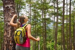 Portrait de la femme heureuse de voyageur dans la forêt appréciant le jour ensoleillé photo stock