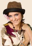 Portrait de la fille dans un chapeau Images stock