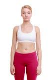Portrait de la fille de sport de femme de forme physique dans le sportwear d'isolement sur le blanc images libres de droits