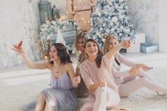 Portrait de la fille quatre de sourire avec des confettis de tresse dans les mains et des verres à vin avec le champagne Sentimen Images stock