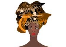 Portrait de la jeune femme africaine dans un turban coloré Enveloppez la mode d'Afro, Ankara, Kente, kitenge, robes africaines de Photo stock