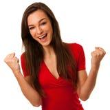 Portrait de la jeune femme enthousiaste d'affaires d'isolement au-dessus du CCB blanc Photos stock