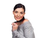 Portrait de la jeune femme heureuse flirtant - d'isolement Photos libres de droits