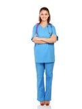 Portrait de la jeune position de femme de docteur, d'isolement Image libre de droits