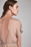 Portrait de la longue coiffure de belle brune de femme parfaite Image stock