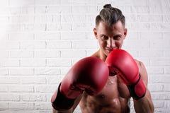 Portrait de la position belle d'homme de boxeur sur le mur bric et de regarder la cam?ra avec le regard fixe intense image stock