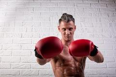 Portrait de la position belle d'homme de boxeur sur le mur bric et de regarder la cam?ra avec le regard fixe intense images stock