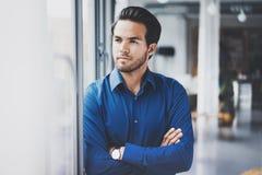 Portrait de la position hispanique sûre réussie d'homme d'affaires étroite de la fenêtre dans le bureau moderne Horizontal, broui Images stock