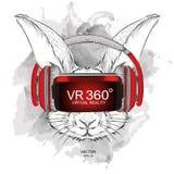 Portrait de lapin d'aspiration de main en verres de réalité virtuelle Illustration de vecteur d'aspiration de main Images libres de droits