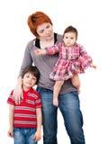 Portrait de mère avec le fils et la fille photographie stock libre de droits