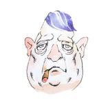 Portrait de mafioso sombre d'une cinquantaine d'années de personnage de dessin animé d'aquarelle ou de cigare de tabagisme de ban Image libre de droits