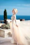 Portrait de mariage de beauté de jeune mariée magnifique dans la robe de mariage Image libre de droits