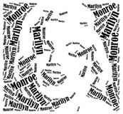 Portrait de Marilyn Monroe Illustration de nuage de Word Image stock