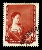 Portrait de Melle Lavergne by Jean Etienne Liotard. German Democratic Republic East Germany - circa 1959: A stamp printed in German Democratic Republic shows ` stock image