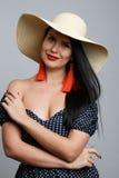 Portrait de modèle avec le chapeau Photographie stock