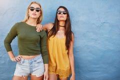 Portrait de mode de deux amis posant ensemble Image stock