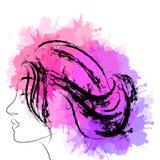 Portrait de mode de femme dans le profil illustration de vecteur