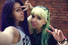 Portrait de mode de vie de mode de plan rapproché de deux amis assez beaux de jeunes avec des cheveux de couleur faisant le selfi Photos libres de droits