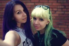 Portrait de mode de vie de mode de plan rapproché de deux amis assez beaux de jeunes avec des cheveux de couleur faisant le selfi Image stock