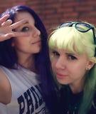 Portrait de mode de vie de mode de plan rapproché de deux amis assez beaux de jeunes avec des cheveux de couleur faisant le selfi Photographie stock libre de droits