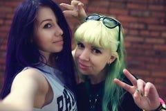 Portrait de mode de vie de mode de plan rapproché de deux amis assez beaux de jeunes avec des cheveux de couleur faisant le selfi Images libres de droits