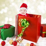 Portrait de Noël de bébé garçon photographie stock libre de droits