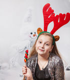 portrait de Noël de fille de 10 ans Photo libre de droits