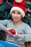 Portrait de Noël de la fille Photos libres de droits