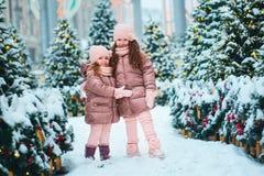 Portrait de Noël de jouer heureux de deux soeurs extérieur dans la ville neigeuse d'hiver décorée pendant des vacances de nouvell images libres de droits